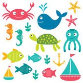 Sea life elements — Vector de stock