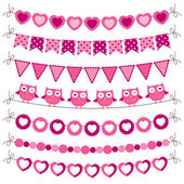 Bunting and garland pink set — Stock Vector