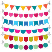 Cute bunting set — Stock Vector