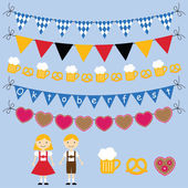 Oktoberfest bunting and design elements set — Stok Vektör