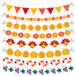 Thanksgiving bunting and garland set - Stock Vector