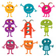 Friendly monsters set — Stock Vector