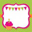 Birthday card with a cupcake - Stock Vector