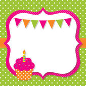 Birthday card with a cupcake — Vetor de Stock