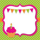Kartka urodzinowa z cupcake — Wektor stockowy