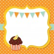 Birthday card with a cupcake — Stock Vector #14049079