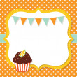 Birthday card with cupcake — Stock Vector #14049079
