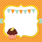 Birthday card with a cupcake — Stock Vector