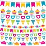 Birthday bunting flags set — Stock Vector