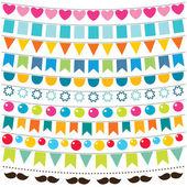 Multicolor bunting set — Stock Vector