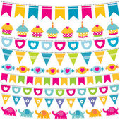 Birthday bunting flags set — Stock Vector