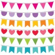 Bunting flags set - Stock Vector