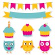 Birtday party stickers set - Stock Vector