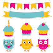 Birtday party stickers set — Stock Vector