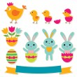 Easter stickers set - Stock Vector