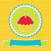 Birthday cupcake card — Stock Vector