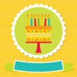 Birthday card with a cake - Stok Vektör
