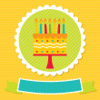 Stock Vector: Birthday card with cake