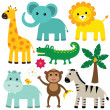 Cute animals set — Stock Vector