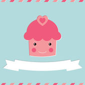 Cute cupcake Valentine's Day card — Stock Vector
