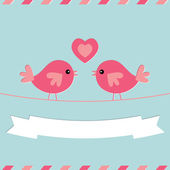 Love birds Valentine's Day vector card — Stock Vector