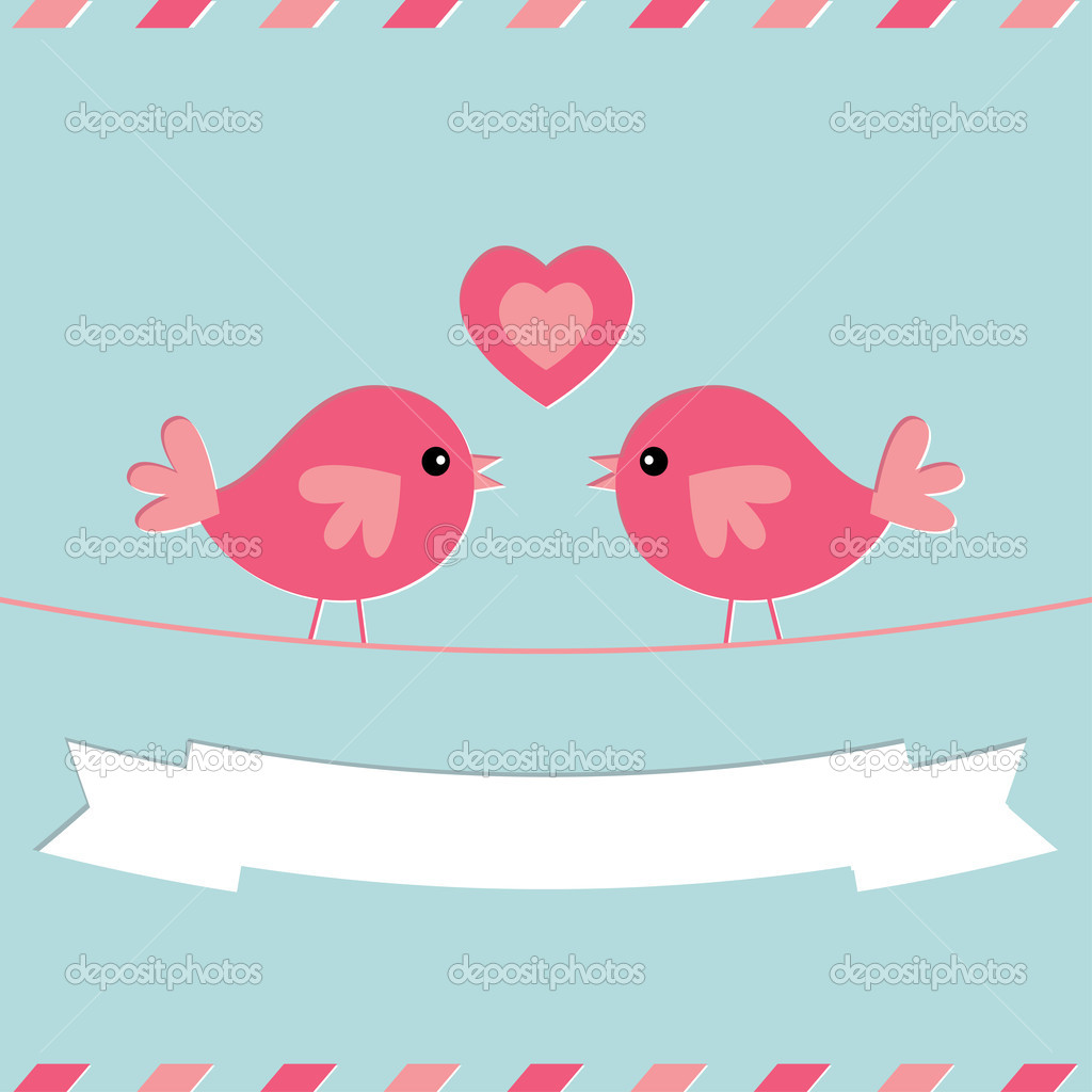 Love birds Valentine's Day vector card — Stock Vector #19708837