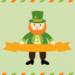 St. Patrick's Day leprechaun card — Stock Vector
