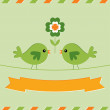 Stock Vector: St. Patrick's Day card with cute birds