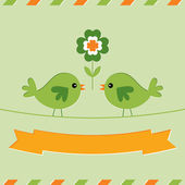 St. Patrick's Day card with cute birds — Stok Vektör