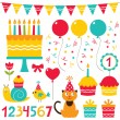 Stock Vector: Birthday party set