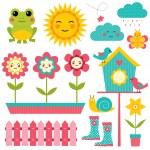 Spring design elements set — Stock Vector