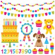 Birthday party design elements set — Stock Vector #21890137