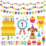 Birthday party design elements set — Stock Vector