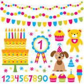 Birthday party design elements set — Stock Vector