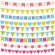 Stock Vector: Colorful bunting collection