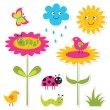 Nature stickers set — Stock Vector