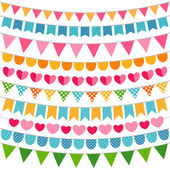 Colorful garlands and bunting flags — Stock Vector