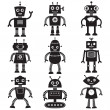 Stock Vector: Robot silhouettes set