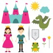 Stock Vector: Princess and prince set