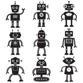 Robot silhouettes set — Vector de stock