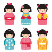 Cute dolls in japanese style — Stock Vector