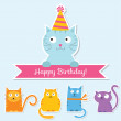 Birthday cats set — Stock Vector