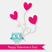 Cute Valentine card with an owl — Vettoriale Stock