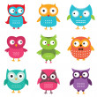 Owls vector set — Vector de stock