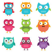 Owls vector set — Stock Vector