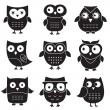 Owls, isolated design elements — Vecteur