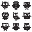 Owls, isolated design elements — Vector de stock