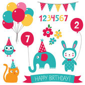 Kid birthday set — Stock Vector