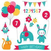 Kid birthday set — Stock Vector