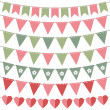 Pink and green bunting set — Stock Vector #49471847